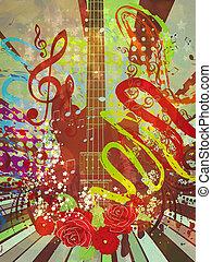 grunge, hudba, kytara, grafické pozadí