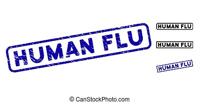 Grunge Human Flu Rectangle Stamp Seals