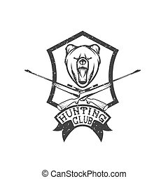 grunge hunting club crest with carbines and bear