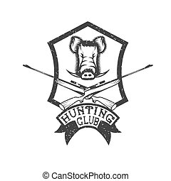 grunge hunting club crest with carbines and boar