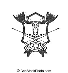 grunge hunting club crest with carbines and elk