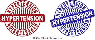 Grunge HYPERTENSION Scratched Round Stamp Seals