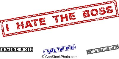 Grunge I HATE THE BOSS Textured Rectangle Stamps