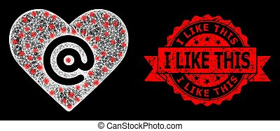Grunge I Like This Stamp and Bright Web Mesh Dating Heart ...