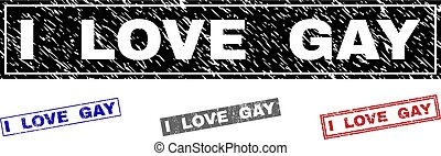 Grunge I LOVE GAY Textured Rectangle Watermarks