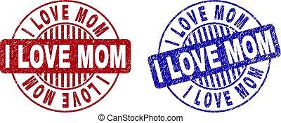 Grunge I LOVE MOM Textured Round Stamp Seals