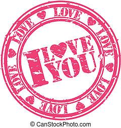Grunge I love you rubber stamp, vec