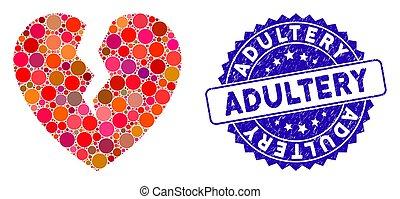 grunge, icône, coeur cassé, collage, cachet, adultère