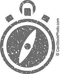 grunge, icône, -, compas