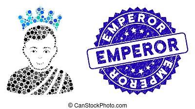 grunge, icône, timbre, mosaïque, empereur