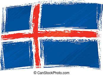 Grunge Iceland flag - Iceland national flag created in...