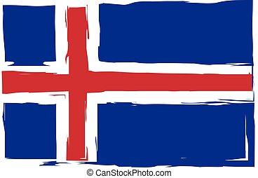 Grunge ICELAND flag or banner