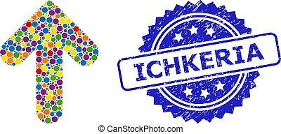 Grunge Ichkeria Watermark and Dotted Colored Up Direction ...