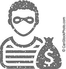 Grunge icon - Burglar - Burglar icon in grunge texture....