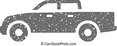 Grunge icon - Car - Truck icon in grunge texture. Vintage...