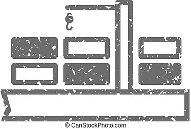 Grunge icon - Container shipping - Container shipping icon...