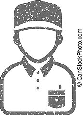 Grunge icon - Delivery man - Delivery man icon in grunge...