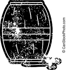 grunge icon drawing of a wine barrel