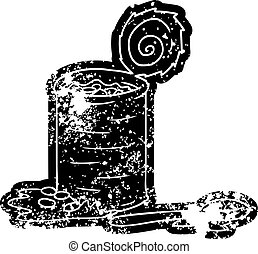 grunge icon drawing of an opened can of beans - grunge...
