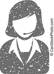 Grunge icon - Female receptionist