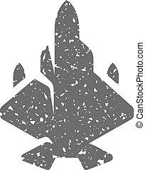 Grunge icon - Fighter jet