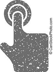 Grunge icon - Gesture - Finger gesture icon in grunge...