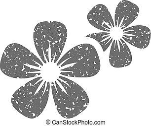 Grunge icon - Jasmine flowers - Jasmine flowers icon in...