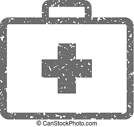 Medical case icon in grunge texture. Vintage style vector illustration.