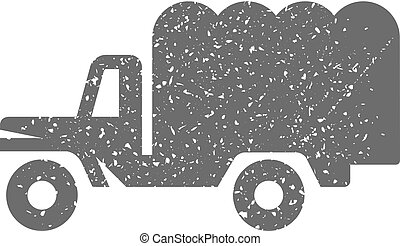 Grunge icon - Military truck - Military truck icon in grunge...