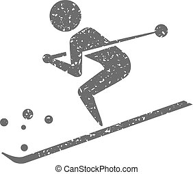 Grunge icon - Skiing
