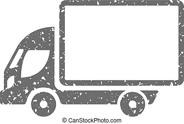 Grunge icon - Truck - Truck icon in grunge texture. Vintage...