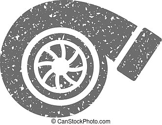 Grunge icon - Turbo charger - Turbo charger icon in grunge...