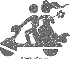 Grunge icon - Wedding Scooter