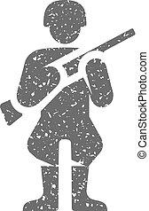 Grunge icon - World War army - World War army icon in grunge...