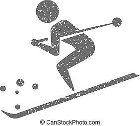 grunge, ikona, -, narciarstwo