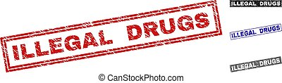 Grunge ILLEGAL DRUGS Textured Rectangle Watermarks