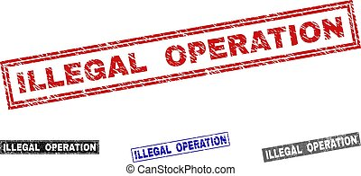 Grunge ILLEGAL OPERATION Textured Rectangle Watermarks