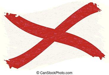 grunge, illustration., alabama., astratto, bandiera, isolato, fondo., colpo, vettore, spazzola, bianco