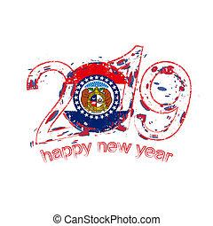 grunge, illustration., année, state., drapeau usa, vecteur, 2019, missouri, nouveau, vacances, heureux