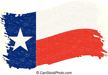 grunge, illustration., astratto, bandiera, isolato, fondo., colpo, vettore, spazzola, texas., bianco