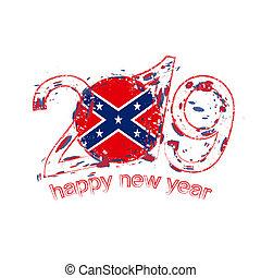 grunge, illustration., bandera, wektor, 2019, confederate., rok, nowy, święto, szczęśliwy