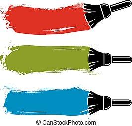grunge, illustration., barwny, stworzony, ściana, brushstrokes, wektor, próbki, konceptualny, paintbrush., akrobatyczne malarstwo