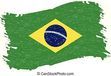 grunge, illustration., elvont, lobogó, elszigetelt, háttér., ütés, vektor, ecset, brazília, fehér
