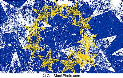 grunge, illustration., flag., vector, kunstwerk, europeaan