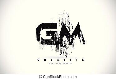 grunge, illustration., g, m, colori, vettore, disegno, spazzola, lettera, logotipo, gm, nero