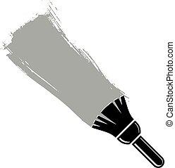 grunge, illustration., gecreëerde, muur, brushstrokes, vector, stalen, monochroom, conceptueel, paintbrush., acrylic schilderstuk