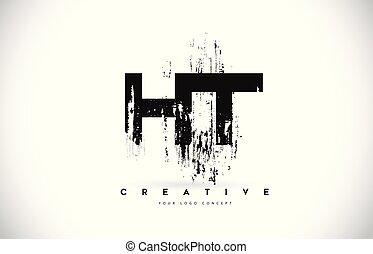 grunge, illustration., h, ht, färger, vektor, svart, t, brev...