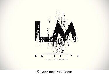 grunge, illustration., lm, m, l, colori, vettore, disegno, spazzola, lettera, logotipo, nero