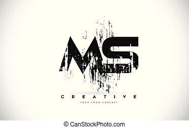 grunge, illustration., m, s, colori, vettore, disegno, spazzola, ms, lettera, logotipo, nero