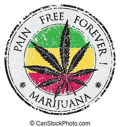 grunge, illustration., marijuana, stamp., caucho, cannabis, vector, diseño, plantilla, hoja, o, círculo